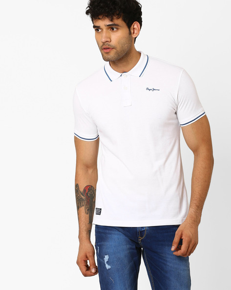 Cotton Polo T-shirt By Pepe Jeans ( White )