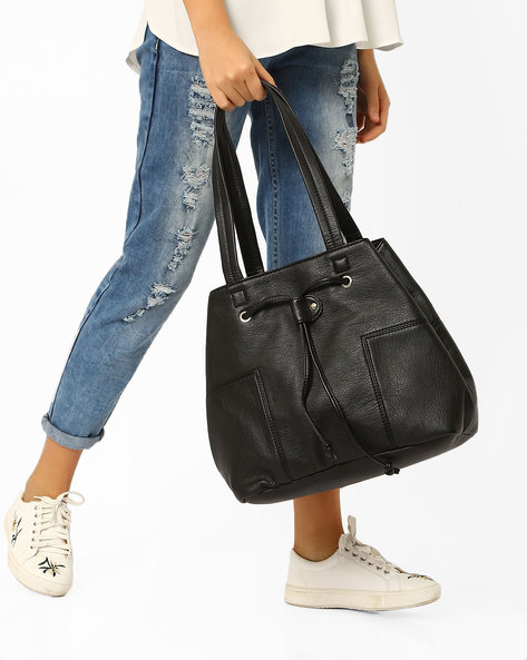 Panelled Tote With Drawstring Closure By Pockit ( Black )