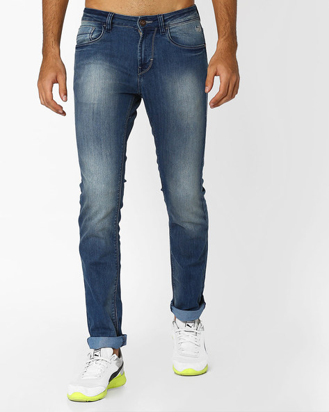Lightly Washed Slim Michael Jeans By FLYING MACHINE ( Blue )