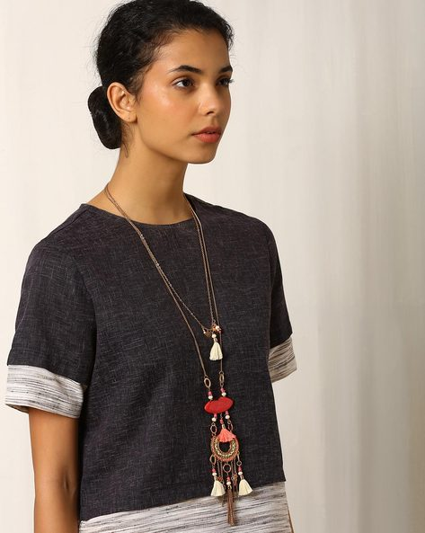 Beaded Layered Necklace With Tassels By Indie Picks ( Multi )