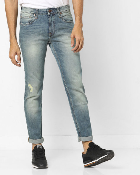 Slim Fit Distressed Jeans By ED HARDY ( Blue )
