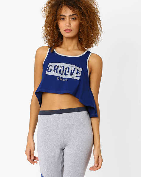 Graphic Print Sleeveless Crop Top By AJIO ( Navyblue )