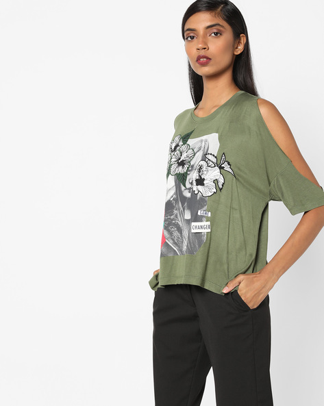Printed Top With Cold-Shoulder Sleeves By AJIO ( Olive )