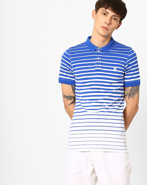 Slim Fit Striped Polo T-shirt By Killer ( Green )