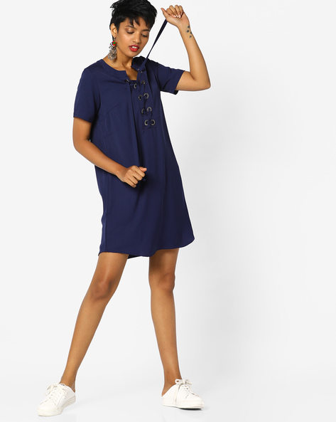 Shift Dress With Tie-Up By Project Eve WW Casual ( Navy )