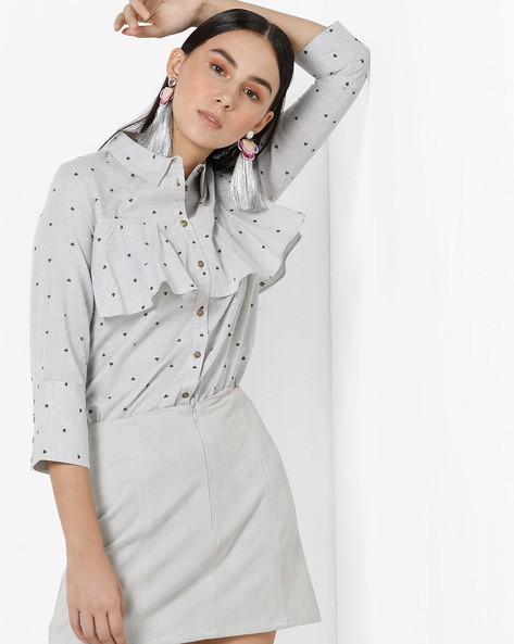 Printed Shirt With Ruffled Panels By Only ( White )