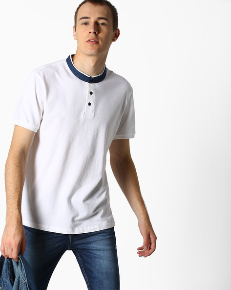 Polo T-shirt With Contrast Collar By DEEZENO ( White ) - 460106839001