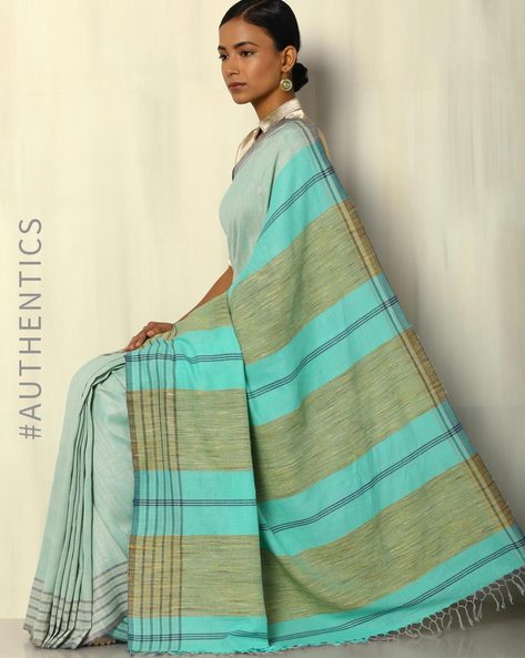 Handwoven Khadi Cotton Saree With Striped Blouse By DRAP ( Green )