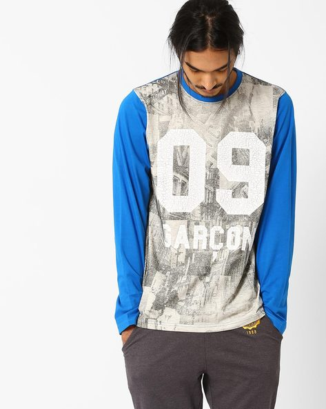 Full-Sleeve Graphic Print T-shirt By Garcon ( Blue )