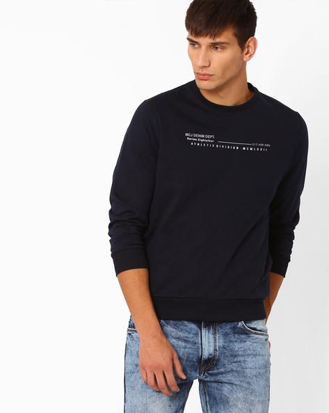 Graphic Print Regular Fit Sweatshirt By MONTE CARLO ( Navy )