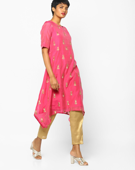Embroidered Kurta With Handkerchief Hemline By PE IW Evening ( Fuchsia )