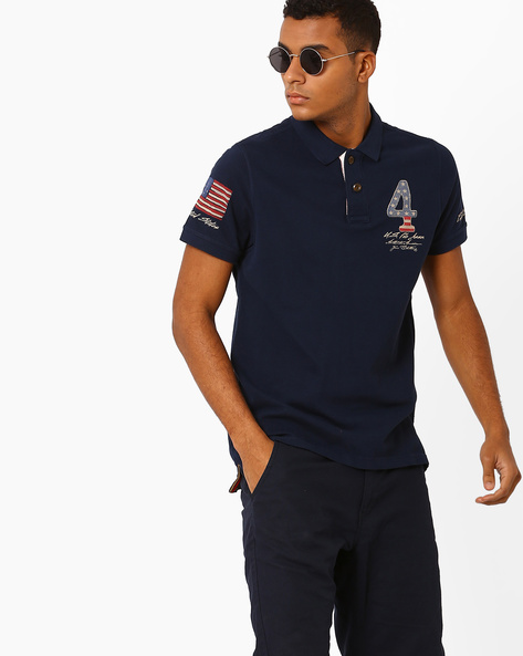 Printed Slim Fit Polo T-shirt By US POLO ( Blue )