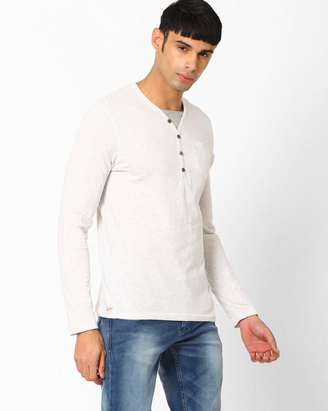 Regular Fit Henley T-shirt By Celio ( Ecru )