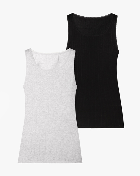 Pack Of 2 Sleeveless Cotton Thermal Vests By Marks & Spencer ( Black )
