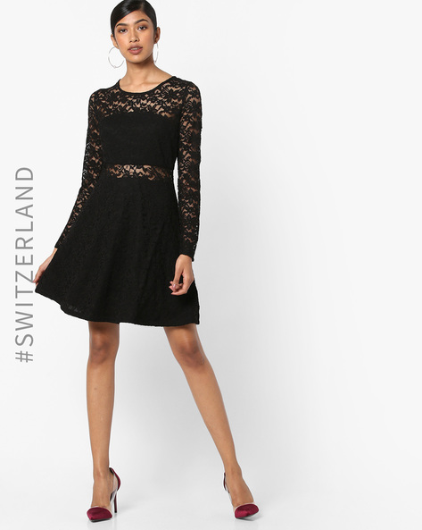 Floral Lace Skater Dress By TALLY WEiJL ( Black )