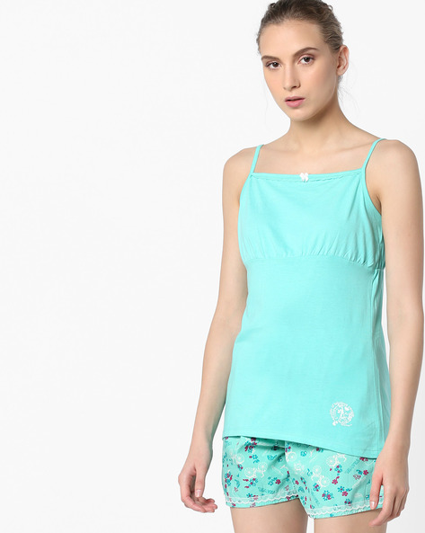 Strappy Top With Floral Printed Pyjamas By Enamor ( Blue )