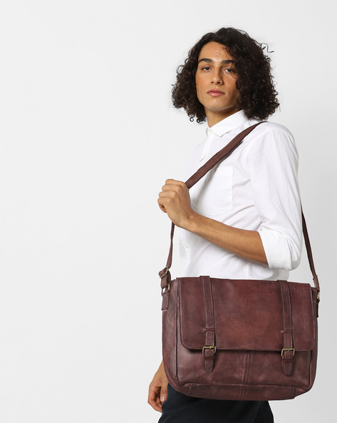 Messenger Bag With Laptop Sleeve By TEAKWOOD LEATHERS ( Brown )