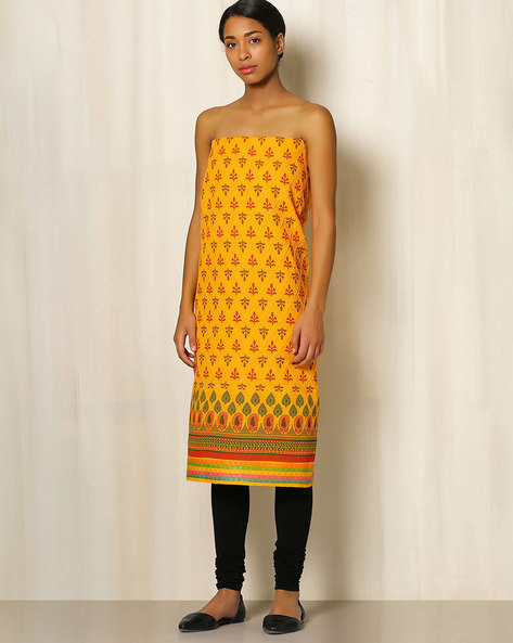 Printed South Cotton Kurta Fabric By Indie Picks ( Yellow ) - 460047178001