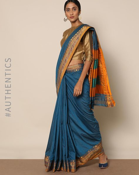 Cotton Silk Ilkal Saree With Zari Border By Indie Picks ( Skyblue )