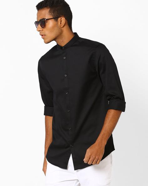 Slim Fit Shirt With Slim Collar By Jack & Jones ( Black )