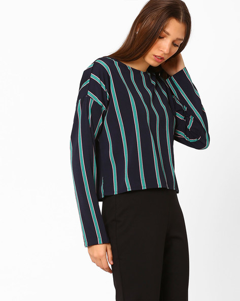 Striped Top With Drop Sleeves By Vero Moda ( Navy )