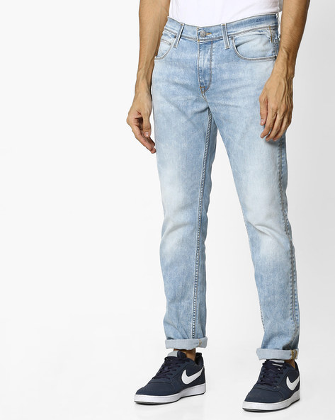 Lightly Washed Slim Fit Jeans By LEVIS ( Blue )