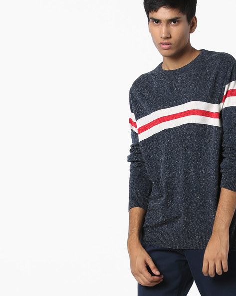 Speckled Crew-Neck Pullover By Teamspirit ( Navy )
