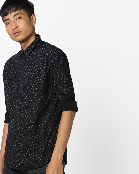 Geometric Print Slim Fit Shirt By AJIO ( Black )