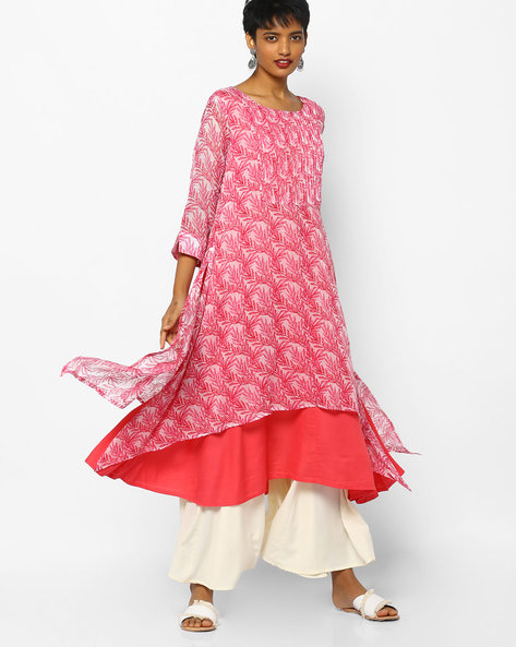 Printed Layered Flared Kurta By PE IW Casual ( Babypink )