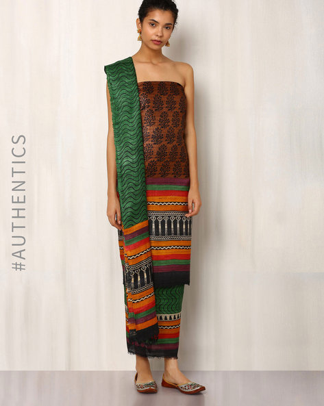 Handwoven Pure Kosa Ghicha Silk Printed Dress Material By Indie Picks ( Brown )