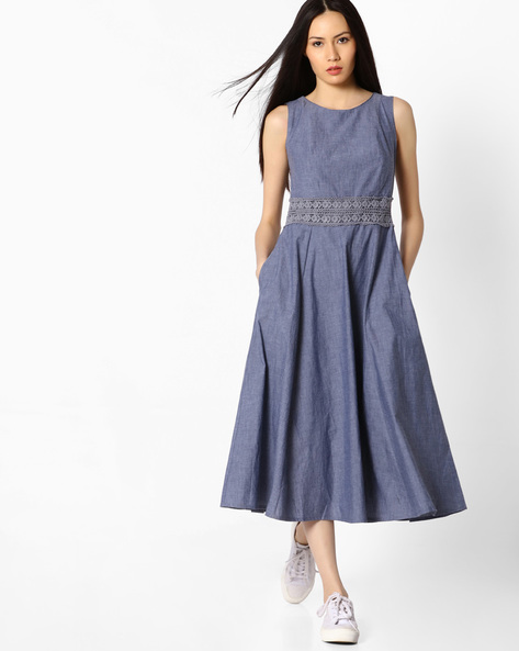 Fit & Flare Midi Dress By CODE By Lifestyle ( Blue )