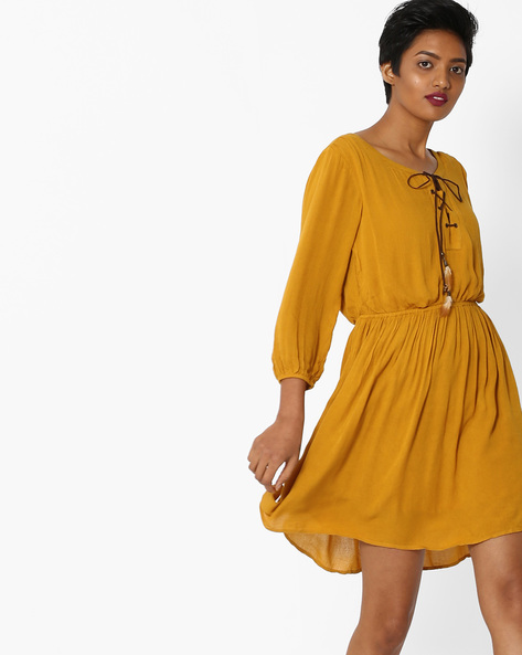 Fit & Flare Dress With Lace-Up Fastening By Only ( Musatrd )