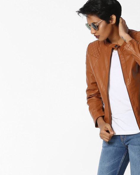 Paneled Jacket With Front Zipper By Fort Collins ( Tan )