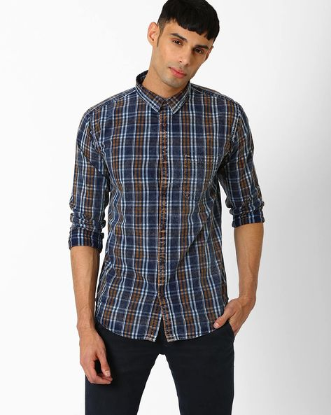 Checked Shirt With Patch Pocket By BASICS ( Brown )