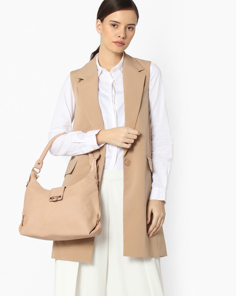 Textured Leatherette Hobo Bag By Lino Perros ( Beige )