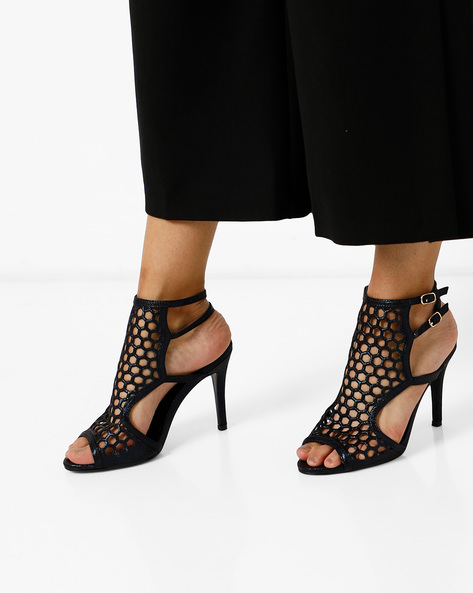 Peep-Toe Stilettos With Cutouts By AJIO ( Blue )
