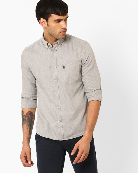Shirt With Button-Down Collar By US POLO ( Grey )