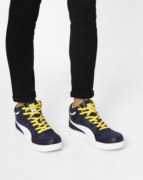 Rebound Mid Lite DP Lace-Up Sneakers By Puma ( Navy )