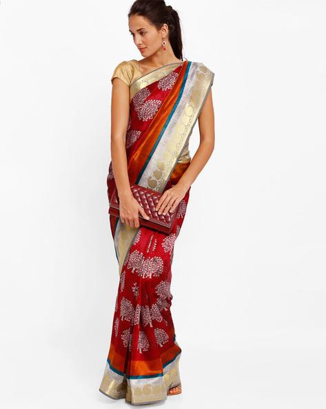 Printed Art Silk Saree By Diva Fashion ( Maroon )
