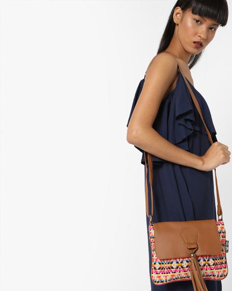 Jacquard Weave Sling Bag By Kanvas Katha ( Tan ) - 460124243001
