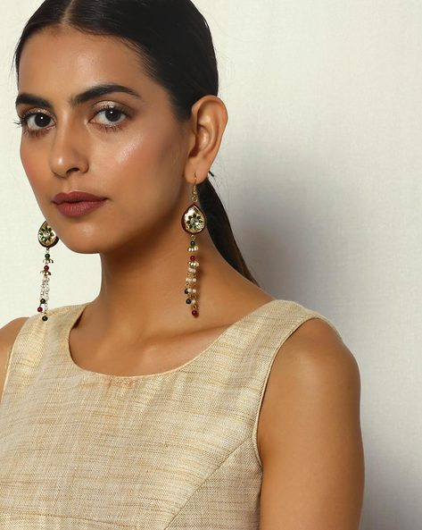 Enamel Brass Pearl Drop-Earrings By Courtyard ( Multi )