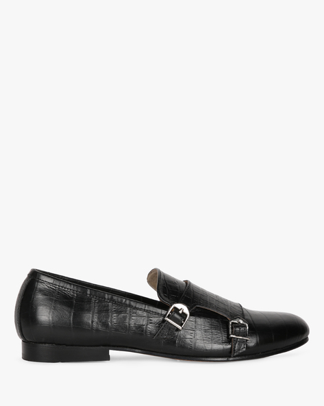 Genuine Leather Textured Formal Shoes By Modello Domani ( Black )