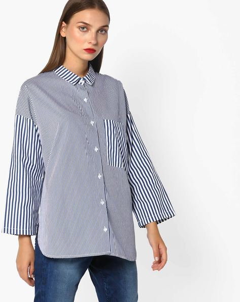Striped Shirt With Typographic Applique By Evah London ( Navyblue )