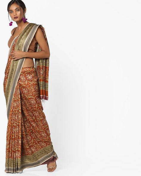 Printed Saree With Contrast Border By Pihu ( Mustard )