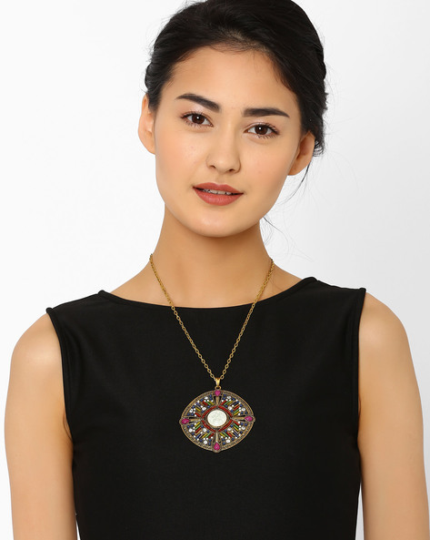 Beaded Pendant With Chain By AJIO ( Brown )