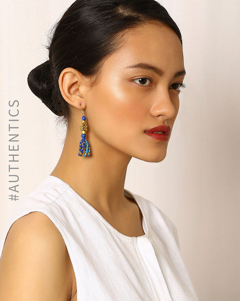 Handcrafted Dhokra Brass Drop-Earrings By Indie Picks ( Multi ) - 460035766001