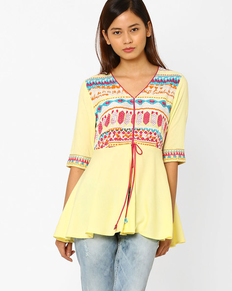 Printed Tunic With Tie-Up By AJIO ( Yellow )