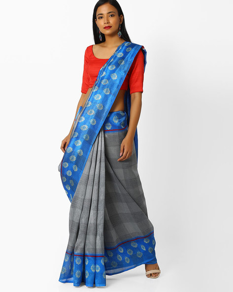 Checked Saree With Contrast Border By Majestic Silk ( Blue )