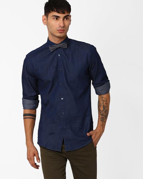 Denim Shirt With Bow Tie By ADAMO LONDON ( Indigo )