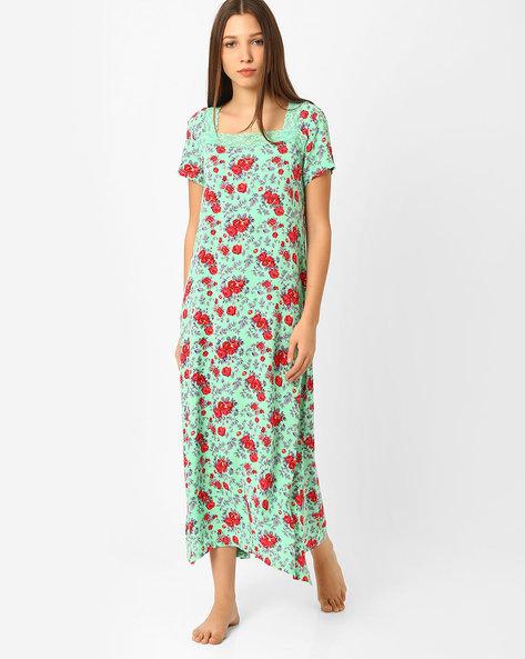 Floral Print Night Dress By Heart 2 Heart ( Green )